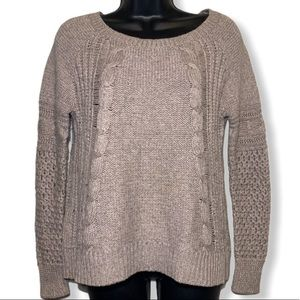 American Eagle Light Brown Cable Knit Pullover